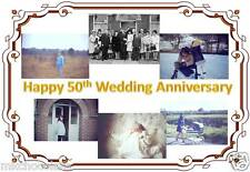 50TH WEDDING ANNIVERSARY OWN PERSONALISED PHOTOS A4 ICING/RICE PAPER CAKE TOPPER