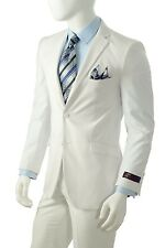 R. Orsini By Vittorio St. Angelo Men's 2 Button Slim Fit Suit Style S622KR White