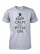Men's Keep Calm and Pitch On Funny Baseball T-Shirt Pitcher Strike Sports Tee