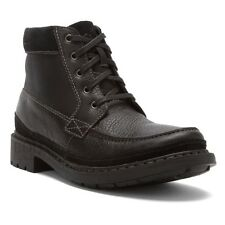 Clarks Tungsten Men's Leather & Canvas Ankle Boots Style 66216 Black Tumbled