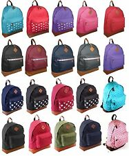 NEW GIRLS BOYS PLAIN BACKPACK BAG SCHOOL COLLAGE TRAVEL MENS WORK RUCKSACK BAGS