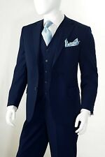 Men's 3 Piece Solid 2 Button Vents Regular Fit Notch Lapel Vested Suit Navy Blue
