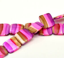 Wholesale DIY Jewelry Shell Loose Beads Multicolor Square 20mm x 20mm, 39cm