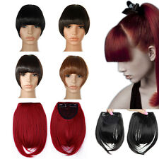US Lady Clip On Clip In Front Hair Bang Fringe Hair Extension Black Dark Brown