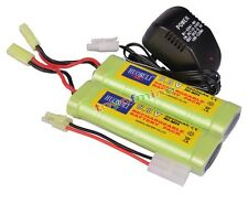 2x 9.6V NiMH 2800mAh Battery Pack + Charger RC Airsoft