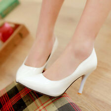 Womens Ladies Patent Leather High Heel Pointed Toe Pumps Shoes AU Size 2--9 D193