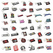 ROCK BAND LOGO RUBBER KEYCHAIN KEY RING BIKER CAR MOTORCYCLE PUNK MUSIC