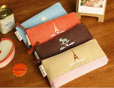 Cute Canvas Pen Pencil Bag Zipper Coin Case Pouch Mini Cosmetic Makeup