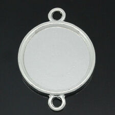 Wholesale Market Cameo Setting Connectors Round Silver Plated 3.2cmx2.4cm