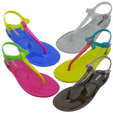 New Womens Adjustable Strap PVC Waterproof Thongs Sandals Flat Shoes SODA IAN-S