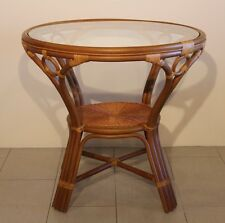MALTA ROUND WICKER DINING TABLE WITH GLASS HANDMADE NATURAL RATTAN FURNITURE