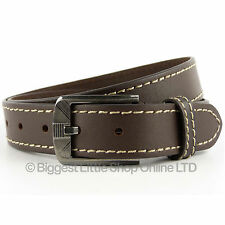 "New Quality Men Brown Real Leather Belt 1.25"" Wide By 7x Up To 47"" Waist Jeans"