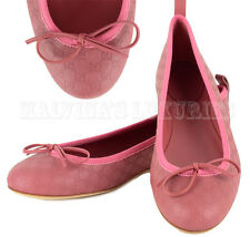 GUCCI SHOES MICRO GUCCISSIMA LEATHER BALLERINA FLATS WITH BOW ROSE 39.5 US 9.5