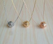 Tiny Pierced Ball Necklace in Simple style 17""