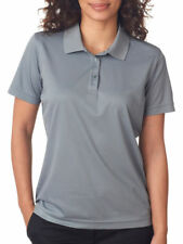 UltraClub Women's Rib Knit Collar Three Button Placket Polo Shirt. 8210L