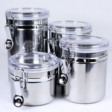 4 Sets Stainless Steel Airproof Pot Tea Coffee Storage Container Jar Canister