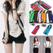 Unisex Fashion Adjustable Clip-on Braces Elastic Y-back Suspenders Candy Colors