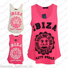 H6B Ladies Sleeveless IBIZA PARTY PEOPLE Print Tank Vest Top T Shirt Sizes SM ML