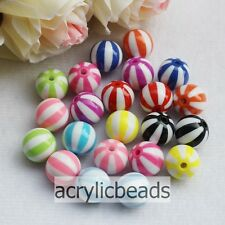 12/16/20MM Colors Acrylic Resin Watermelon Strip Ball Bead Chunky Bubblegum Bead