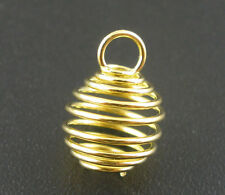 Wholesale HOT! Jewelry Gold Plated Spring Bead Cages Pendants 8x9mm
