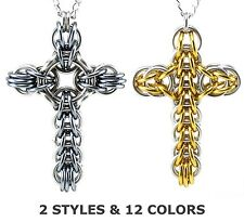 Classic or Celtic Large Chainmail Metal Cross Necklace Pendant for Men Women