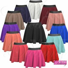 NEW LADIES WAIST STRECTH SKATER SKIRT WOMENS PLAIN FLARED MINI PARTY SKIRTS LOOK