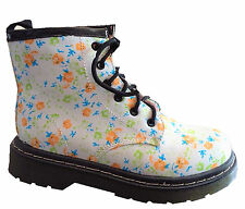 girls  kids ankle flat boots in peach flowers patten lace up shoes from size 5-2