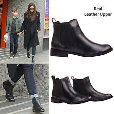 WOMENS LADIES BLACK REAL LEATHER FLAT PULL ON ANKLE CHELSEA GUSSET BOOTS SIZE