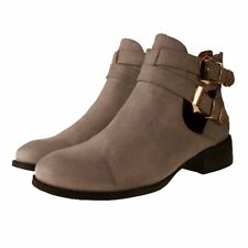 New BEBO Grey Leather Look Cut Out Pixie Buckle Flats Chelsea Ankle Boots