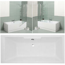 Bathroom Straight Acrylic Square Tub Shower Bath Screen Single Double Ended