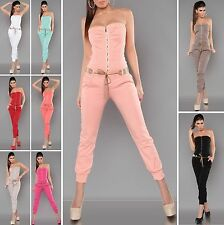 Sexy Designer Strapless Jumpsuit Overall with Belt - S / M / L / XL
