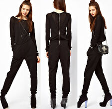 Womens Raglan Long Sleeves Black Jumpsuits Overalls Casual Siamese Trousers