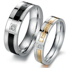 """""""Loyal and Steadfast"""" or """"Endless Love"""" Stainless Steel Engagement Wedding Ring"""