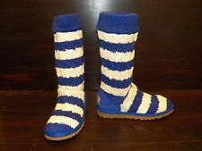 New Womens UGG STRIPE CABLE KNIT Ultra Marine Tall Boots blue cream