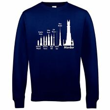 Mordor Size Guide Sweatshirt Funny jumper retro lord book rings Tolkien tower
