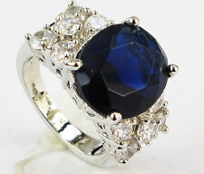 Size 7,8,9,10 Jewelry Woman's Sapphire 10KT White Gold Filled Ring