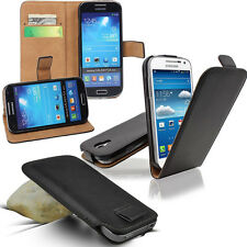 Luxury Genuine Real Leather Flip Wallet Case Cover Pull Tab Slide In Pouch