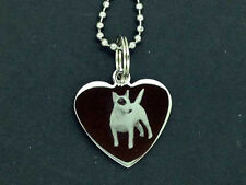 Personalised Photo/Text Engraved Heart Necklace Pendant ENGLISH BULL TERRIER