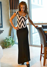 Solid Black long maxi skirt full length super sexy boho banded style Medium