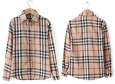 Women  western new spring Slim plaid  long-sleeved 100% cotton tops Blouses