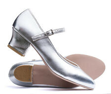 """Ladies Silver Character Stage Showtime Dance Shoes All Sizes 1.5"""" Heel By Katz"""
