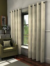 FULLY LINED EMBROIDERED PAIR OF VOILE CURTAINS EYELET RING TOP CREAM TURINO