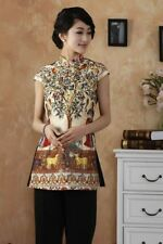 gold chinese silk women's Top T-shirt blouse cheongsam 6.8.10.12.14.16.18