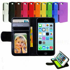 Leather Magnetic Flip Folio IC Card Wallet Stand Purse Case Cover For iPhone 5C
