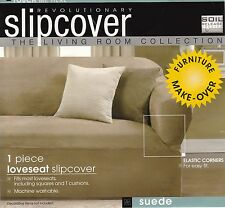Sofa Loveseat Chair Suede Slipcovers- Brown Red Green