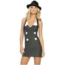 Gangster Girl Costume Sexy 20s Mobster Mafia Adult Halloween Fancy Dress
