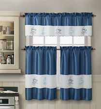 "3 pc Coffee Embroidered Kitchen Window Curtain Set Valence 57""x15"" Tiers 28""x36"""