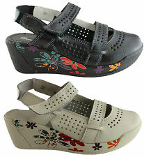 DONNA VELENTA RENA WOMENS/LADIES COMFY LEATHER SHOES/WEDGE HEEL CASUAL SHOES