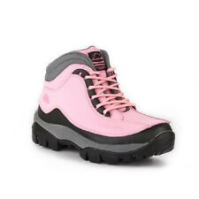 LADIES WOMENS PINK SAFETY WORK BOOTS LEATHER GROUNDWORK STEEL TOE CAPS FAB3