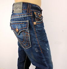 TRUE RELIGION RICKY STRAIGHT BLUE BROWN SUPER T STITCH MENS JEAN